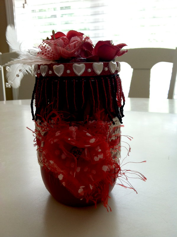 Altered Mason jar for Swap