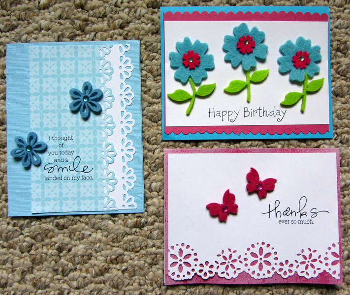 Cards with felt embellies