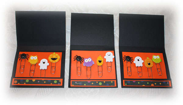 Halloween Embellihed Paper Clips inside Halloween Matchbooks
