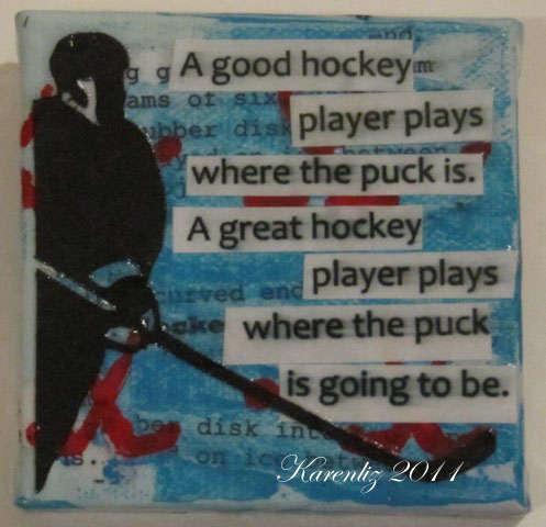 "A Good Hockey Player:  3""x3"" Canvas"