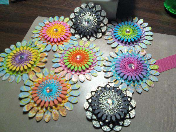String Art Flower Embellishments - Scrapbooks