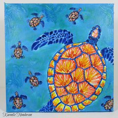 12x12 Stetch Canvas - Sea Turtle