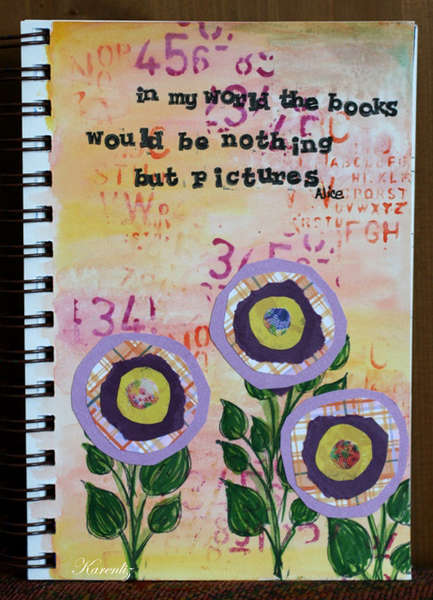 Art Journal Page: Paper Flowers and watercolors