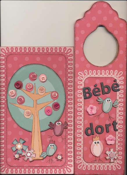 Baby girl card and door hanger