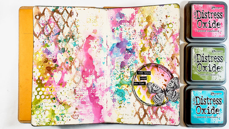 Stencil Smooshing Art Journal