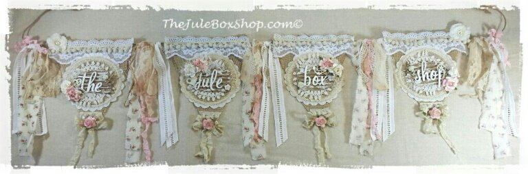 """The Jule Box Shop"" Burlap, vintage doily and lace banner!"