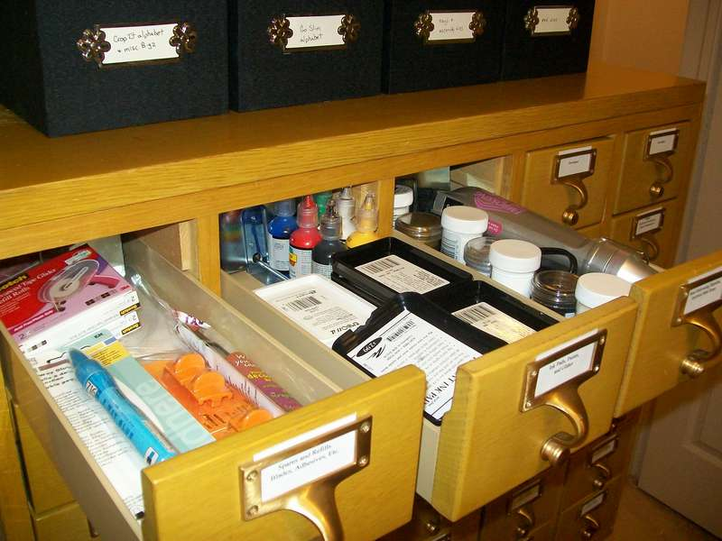 Scraproom (February 2012) - Card catalog drawers 1