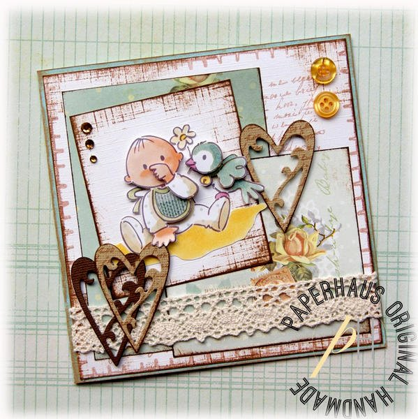 Vintage Baby Boy card {DT work for the PaperHaus magazine}