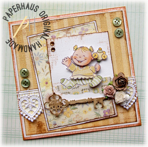 Vintage Baby Girl card {DT work for the PaperHaus magazine}