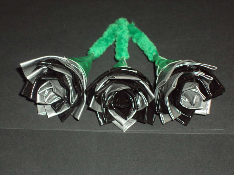 Silver and Black Duct Tape Flowers