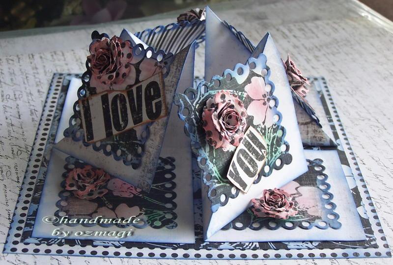 3 / 3 blue fold card