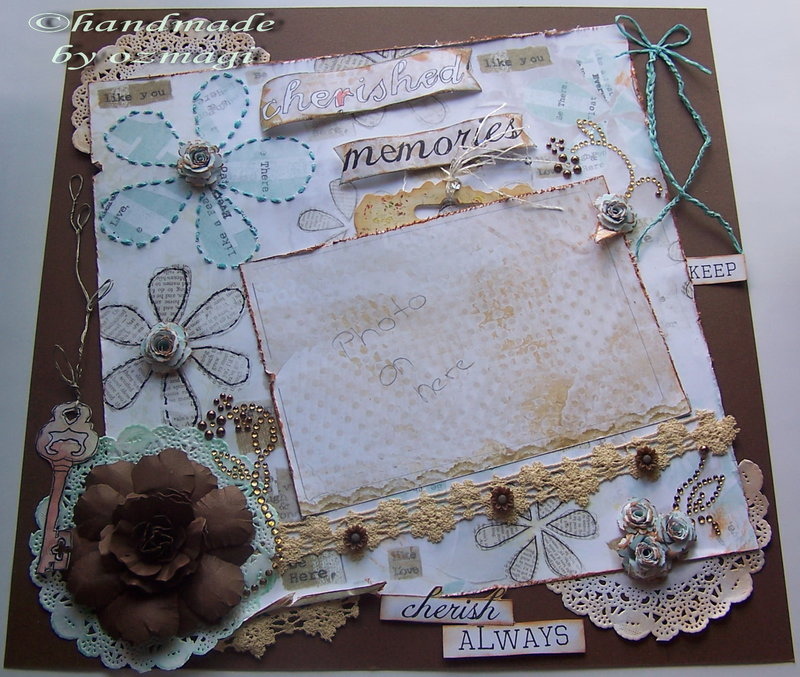 my first layout i teached at the local scrapbook store
