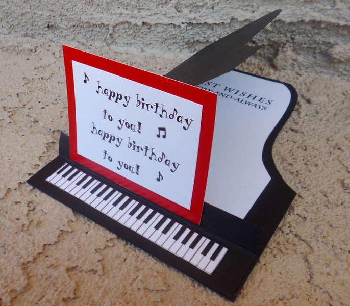 Pop Up Piano Birthday Card