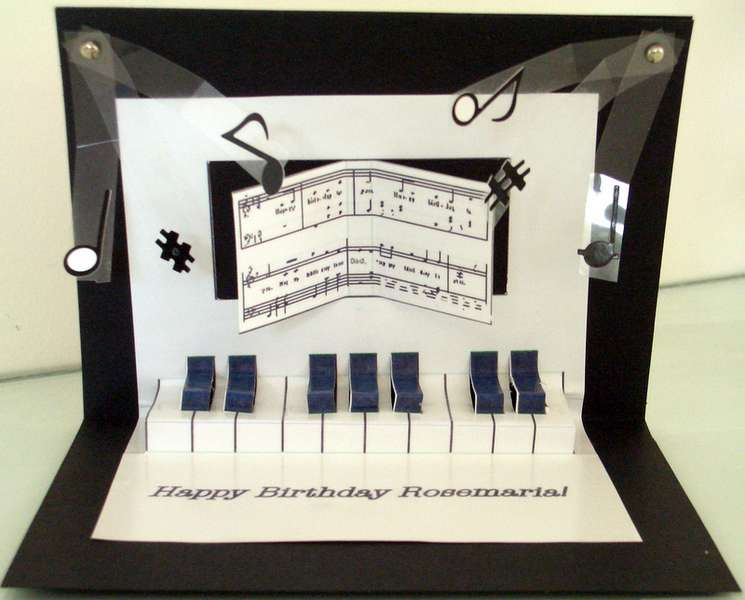 Pop Up Piano Birthday Card Inside View