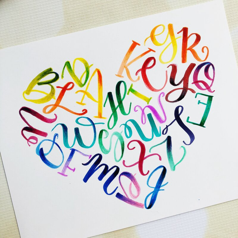 Rainbow Alphabet Heart