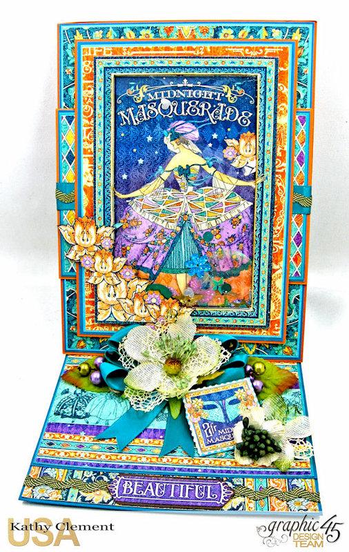 Graphic 45 Midnight Masquerade Easel Shaker Birthday Card