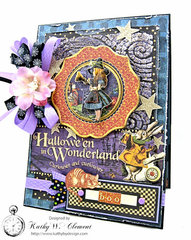 Graphic 45 Halloween in Wonderland Mixed Media card with pocket