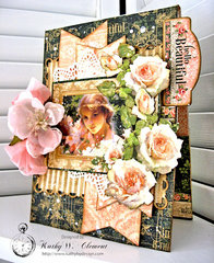 Hello Beautiful Card with Pocket and Inserts with Graphic 45 Portrait of a Lady