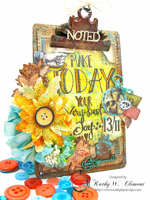 Make Today Your Very Best Day Altered Tim Holtz Mini Clipboard