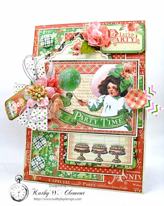Graphic 45 Time to Celebrate Shabby Chic Birthday Card with pockets