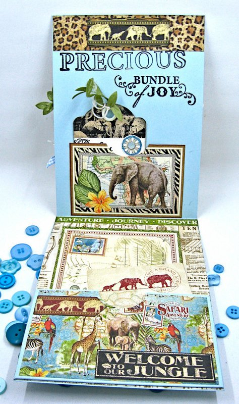 Welcome to Our Jungle Baby Boy Card Inteerior View