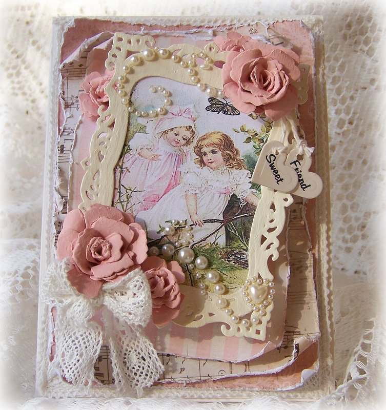 Shabby Rose Garden Friendship Card