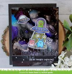 Alcohol Ink Galaxy Birthday Card