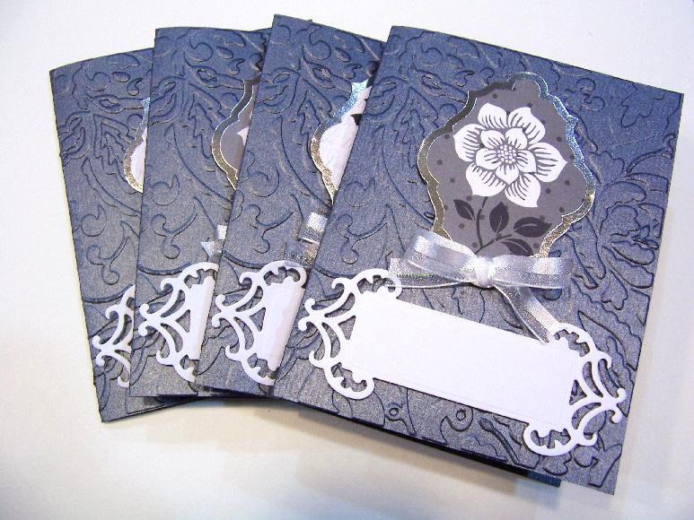 Black, White, Silver foil embossed cards and envelopes