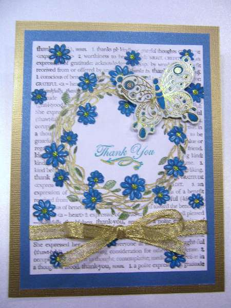 Embossed Wreath Thank You with foil butterfly