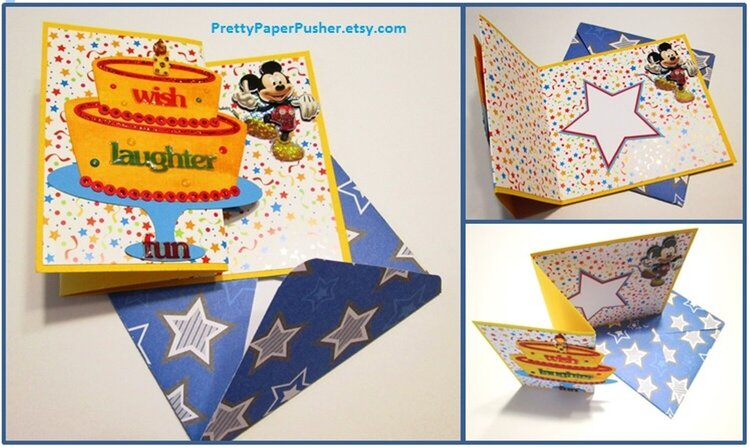 Mickey Mouse Birthday Card with Stars