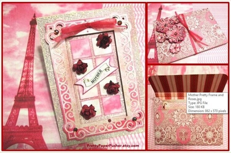 Mother elegant frame card with chunky decorated box envelope