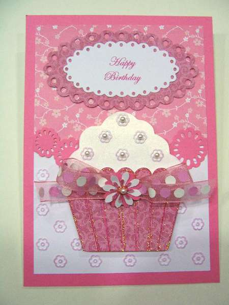 Blossoms and Pearls pink cupcake Birthday