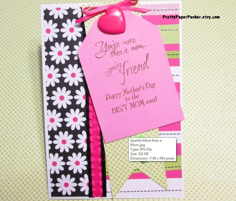 Sparkly BEST MOM EVER Mothers Day Card - You're more than a mom... you're a friend