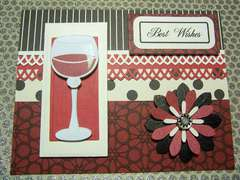 Wine Glass Best Wishes handmade card