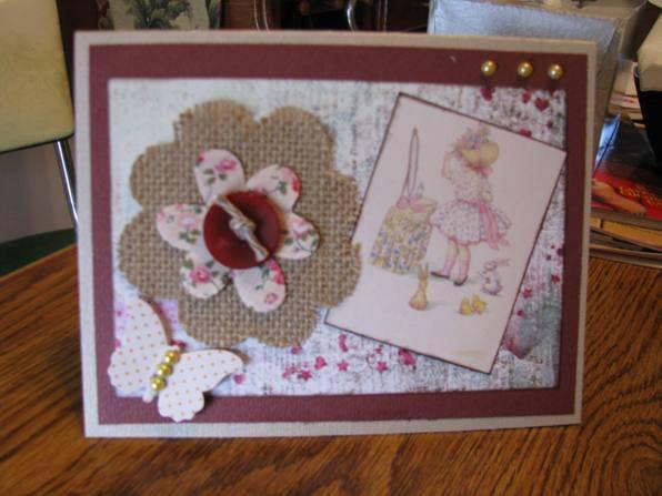 little girl BD card with burlap flower