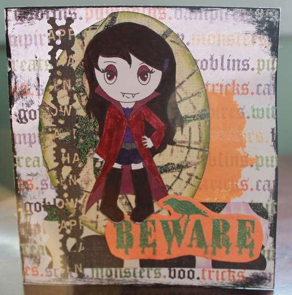 Vampire Girl Halloween card