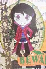 Vampire Girl Halloween card - close up