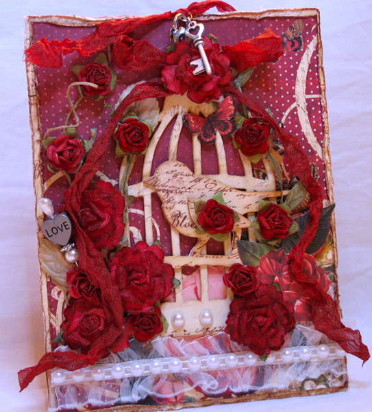 Bird Cage card using Prima papers
