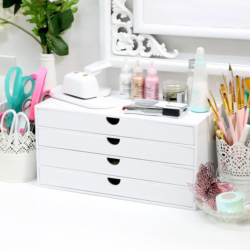 Craft Room Basics 4 Drawer Organizer White