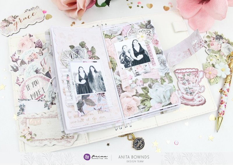 Poetic rose travelers notebook insert