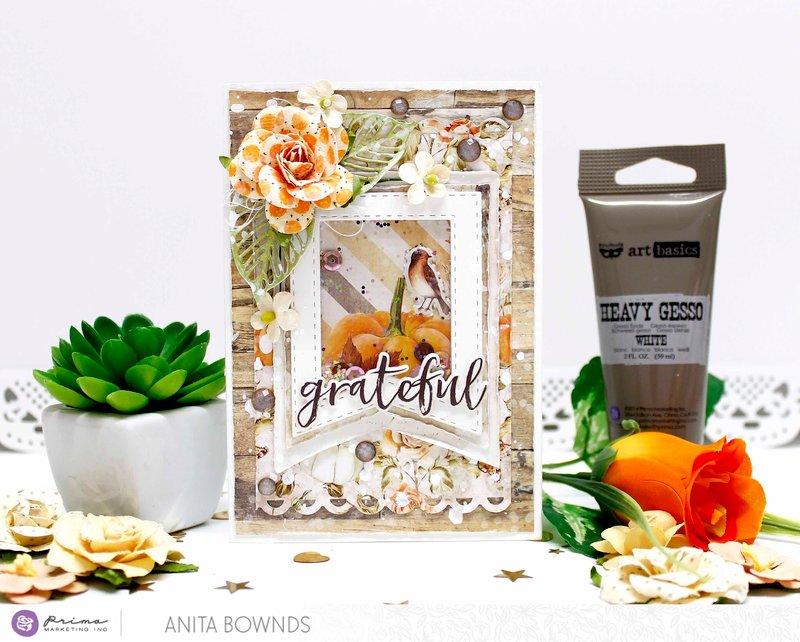 Shaker Grateful card - Prima Marketing Design Team