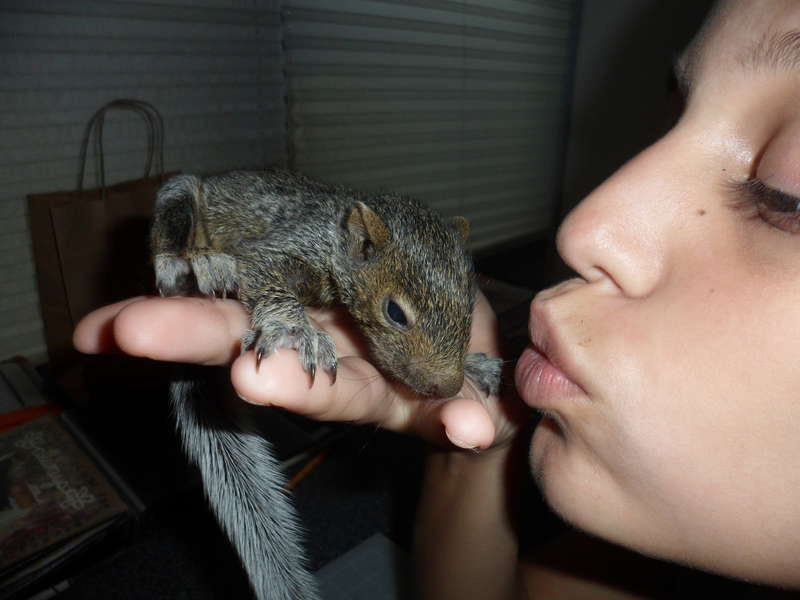 she kissed a squirrel!
