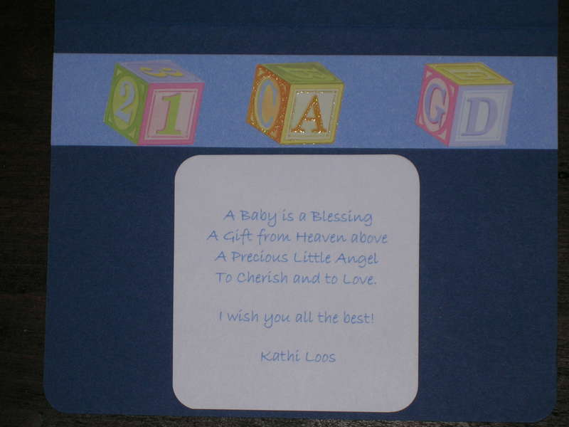 Inside of Baby shower card