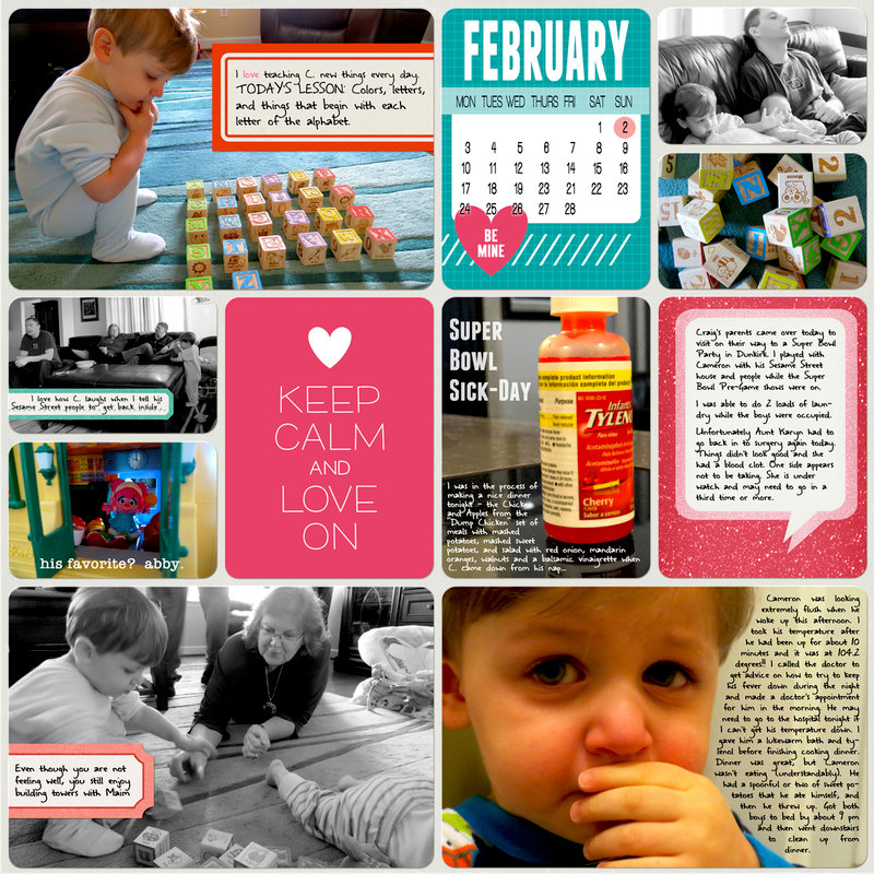 Project Life 2014 (Week 5, Day 7): Super Bowl Sick-Day