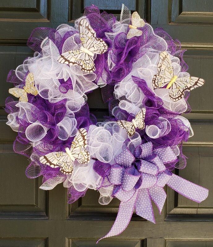 Purple and White Mesh Wreath