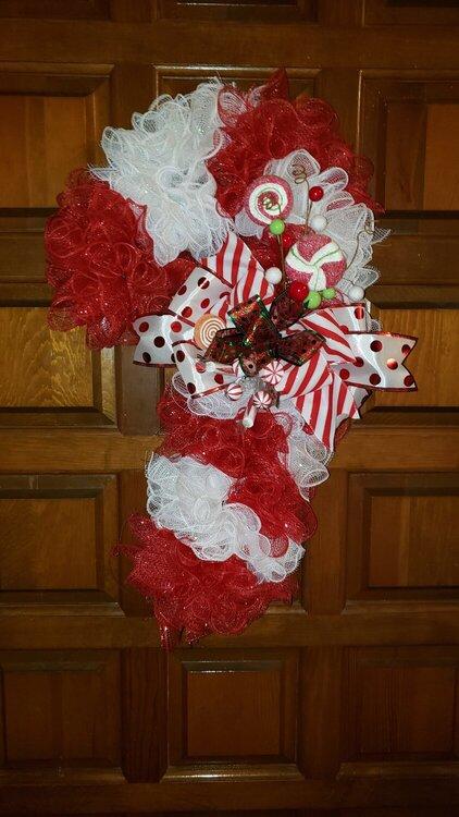 Deco mesh Candycane Wreath