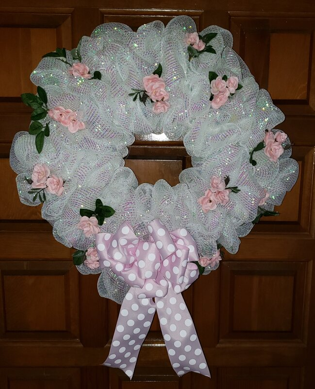Pink and White Deco Mesh Wreath