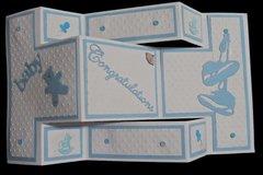 Tri-Fold Shutter Baby Boy Card