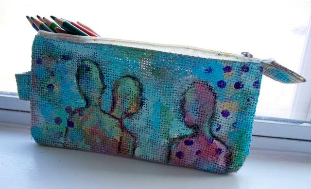 Painted Burlap Pencil Case