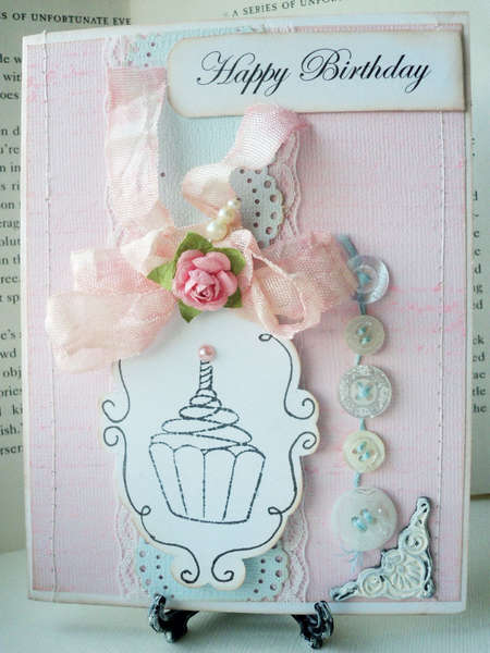 Vintage and Pastel Cupcake Challenge Card